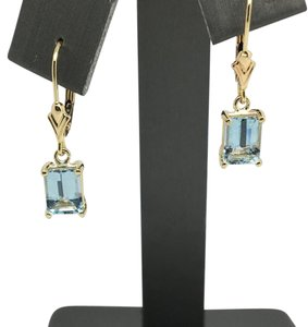 Other 14K Yellow Gold Natural Aqumarine Leverbsck Dangling Earrings