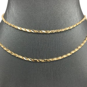 Other 18K Solid Yellow Gold Side Cut Bar Chain 24 Inches