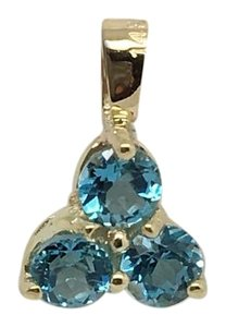 Other 14K Yellow Gold 3 Stones Natural Blue Topaz Pendant