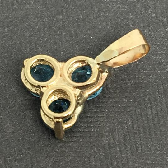 Other 14K Yellow Gold 3 Stones Natural Blue Topaz Pendant Image 3