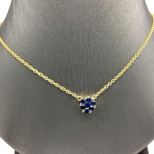 Other 14K Yellow Gold Natural Blue Sapphire Invisible Flower Necklace