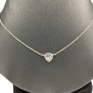 Other Sterling Silver White Gold Rhodium Bezel Heart Necklace
