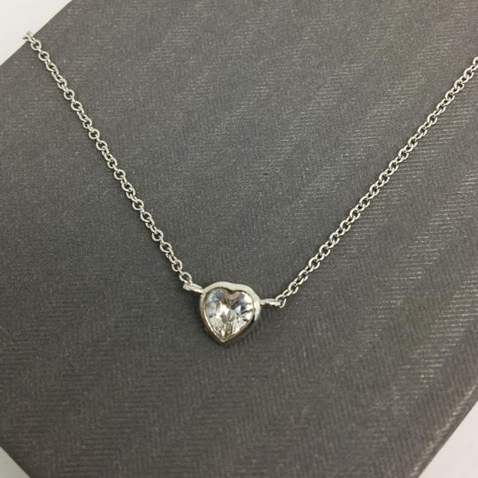 Other Sterling Silver White Gold Rhodium Bezel Heart Necklace Image 1