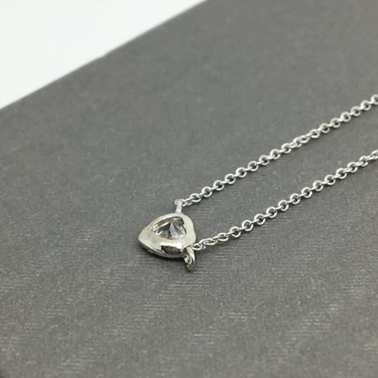 Other Sterling Silver White Gold Rhodium Bezel Heart Necklace Image 2