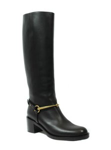 Gucci 353794 Womens Tess Leather Horsebit Display Black Boots