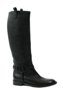 Gucci 338541 Womens Interlocking G Leather Black Boots