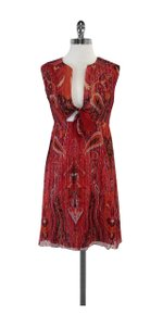 Anna Sui short dress Red & Orange Metallic Paisley Print on Tradesy