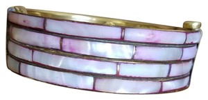 Other Vtg Pink Mother of Pearl Inlay Brass Bangle