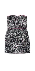 Sandro short dress Black Pink Metallic Strapless on Tradesy