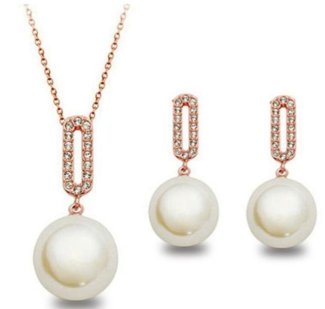 Item - Rose Gold Plated Pearl Drop Necklace Jewelry Set