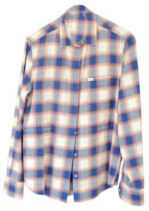 OBEY Button Down Shirt Blue Plaid