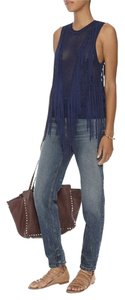 Torn by Ronny Kobo Fringe Knit Sleeveless Stretchy Sweater
