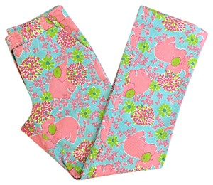 Lilly Pulitzer Textured Flat Front Resort Straight Pants Pink Blue Green