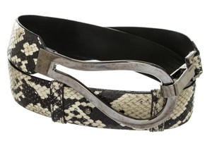 Sandy Duftler Sandy Duftler Designs Black and Cream Snakeskin Embossed Leather Belt