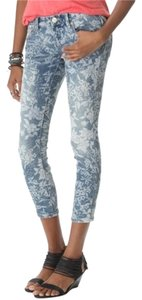 Free People Floral Skinny Skinny Jeans-Light Wash