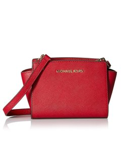 Michael Kors Michael Mini Selma Saffiano Leather Cross Body Cherry Messenger Bag