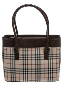 Burberry Satchel in Brown/Cream/Red/Black/White