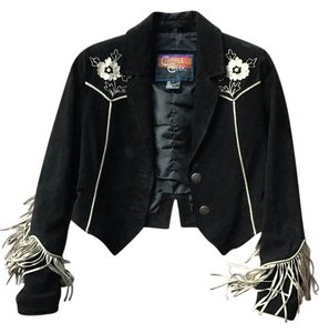 Cripple Creek Suede Cropped Fringe black with off-white Leather Jacket