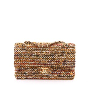 Chanel Double Flap Tweed Shoulder Bag
