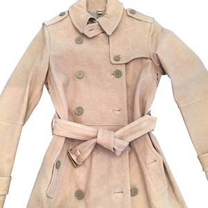 Burberry Leather Lambskin Mid Length Cuffs Waist Double Breasted Trench Coat