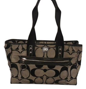 Coach Canvas Tote in Beige and black