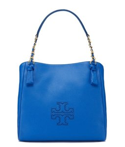 Tory Burch Leather Logo Cobalt Shoulder Bag