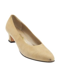 Salvatore Ferragamo Suede Beige,Gold Pumps