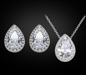 White Gold Plated Water Drop Necklace Set