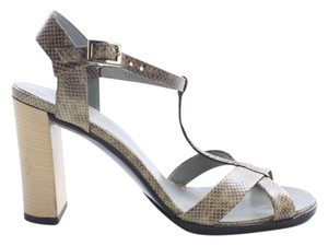 Gucci Snakeskin Strap Chunky Beige Pumps