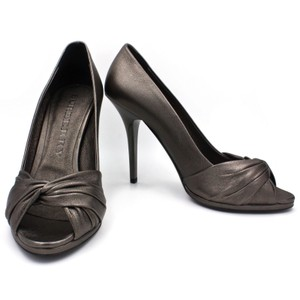 Burberry Brown, Dark Nickle, Metallic Pumps