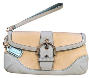 Coach Wristlet in Off-white and blue