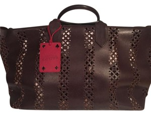 Jean-Paul Gaultier Tote in Brown leather with red leather designer tag