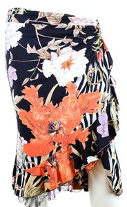 Roberto Cavalli Floral Ruffle Fitted Skirt Black