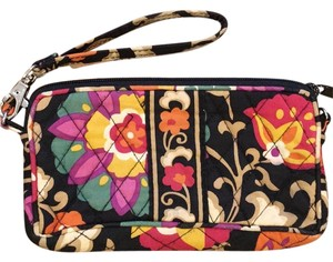Vera Bradley Wristlet in Black, pink, tan, yellow