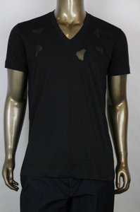Bottega Veneta Men's Black V-neck T-shirt W/cutouts It 52/us 42 306410 1000