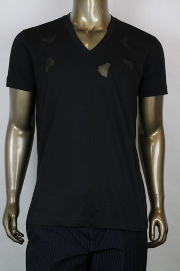 Bottega Veneta Black W Men's V-neck T-shirt W/Cutouts It 52/Us 42 306410 Shirt Image 0