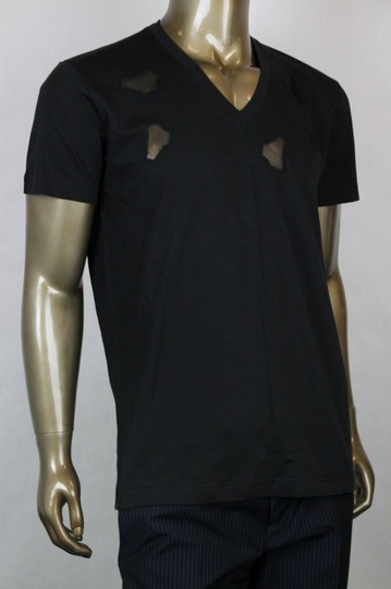 Bottega Veneta Black W Men's V-neck T-shirt W/Cutouts It 52/Us 42 306410 Shirt Image 1