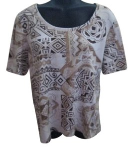 Chico's Knit Cotton Abstract Aztec Tribal Top White & Brown