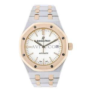Audemars Piguet Audemars Piguet Royal Oak 37 Steel & Rose Gold Watch Silver Dial