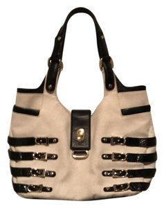 Jimmy Choo Tote in Cream Canvas & Brown Leather