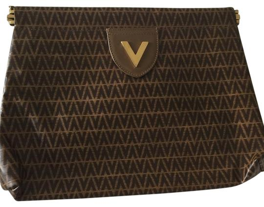 Valentino Light Brown With Dark Brown V Clutch Image 0