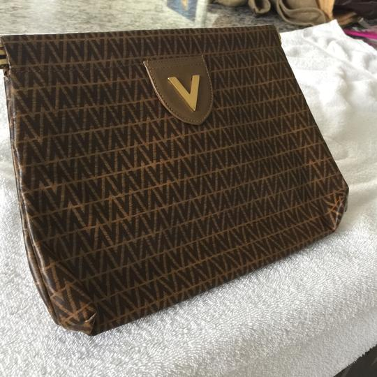 Valentino Light Brown With Dark Brown V Clutch Image 1