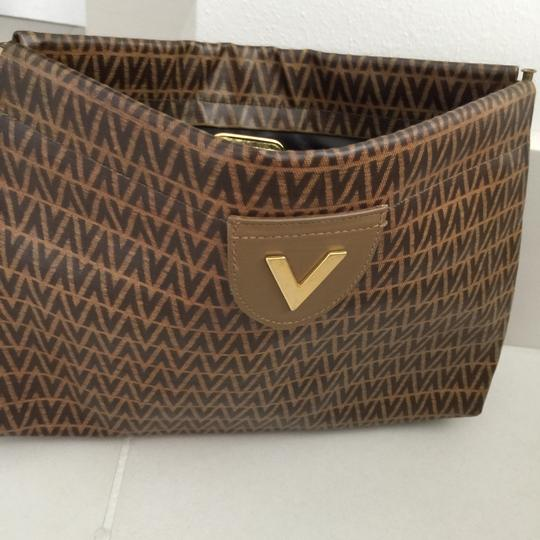 Valentino Light Brown With Dark Brown V Clutch Image 3