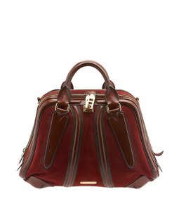 Burberry Brown & Red Satchel in Brown,Red
