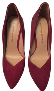 Sigerson Morrison Suede Snake Leather Stilettos Red Pumps