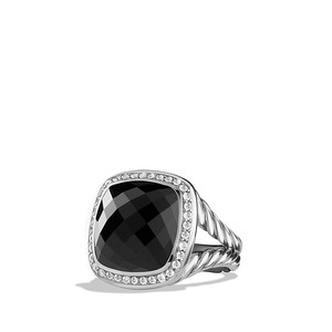 David Yurman Albion Ring with Black Onyx and Diamonds, 14mm