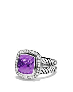 David Yurman Albion Ring with Amethyst and Diamonds, 11mm