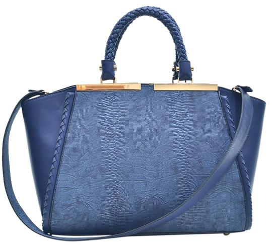 Preload https://img-static.tradesy.com/item/20307876/two-tone-winged-navy-blue-faux-leather-satchel-0-1-540-540.jpg