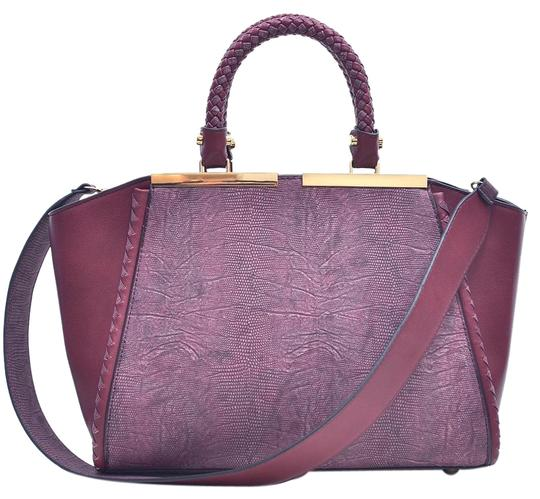 Preload https://img-static.tradesy.com/item/20307890/two-tone-winged-wine-faux-leather-satchel-0-1-540-540.jpg