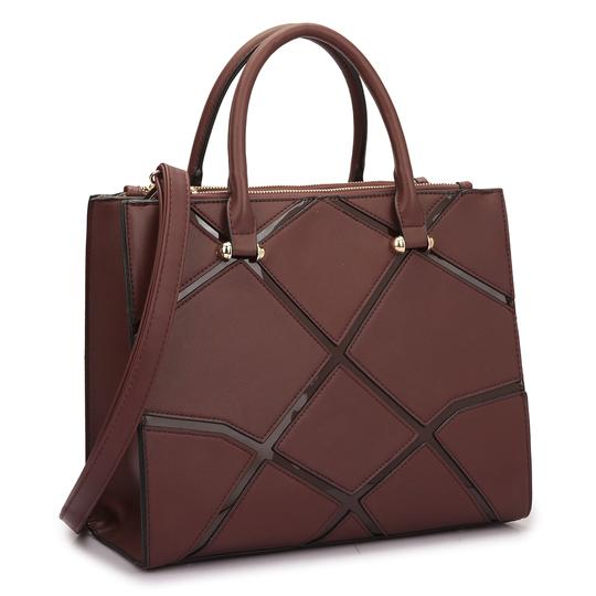 Preload https://img-static.tradesy.com/item/20307930/classic-with-front-crosshatch-patch-design-coffee-saffiano-faux-leather-satchel-0-0-540-540.jpg